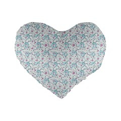 Intricate Floral Collage  Standard 16  Premium Flano Heart Shape Cushions