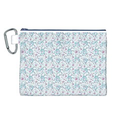 Intricate Floral Collage  Canvas Cosmetic Bag (L)