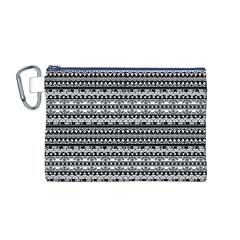 Zentangle Lines Pattern Canvas Cosmetic Bag (M)