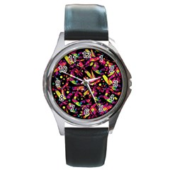 Colorful dragonflies design Round Metal Watch