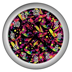Colorful dragonflies design Wall Clocks (Silver)