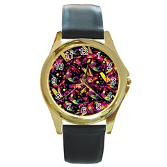 Colorful dragonflies design Round Gold Metal Watch