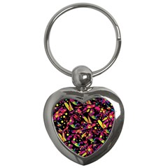 Colorful dragonflies design Key Chains (Heart)