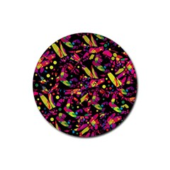 Colorful dragonflies design Rubber Round Coaster (4 pack)