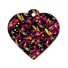 Colorful dragonflies design Dog Tag Heart (Two Sides)