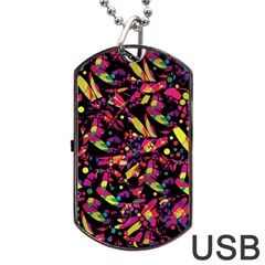 Colorful dragonflies design Dog Tag USB Flash (Two Sides)