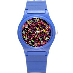 Colorful dragonflies design Round Plastic Sport Watch (S)