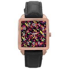 Colorful dragonflies design Rose Gold Leather Watch