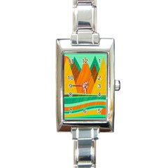 Orange and green landscape Rectangle Italian Charm Watch