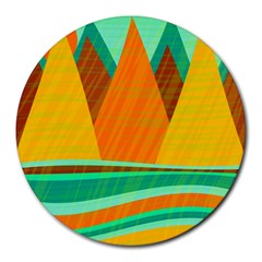 Orange and green landscape Round Mousepads