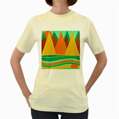 Orange and green landscape Women s Yellow T-Shirt