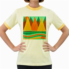 Orange and green landscape Women s Fitted Ringer T-Shirts