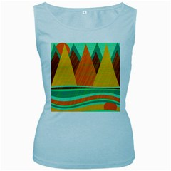 Orange and green landscape Women s Baby Blue Tank Top