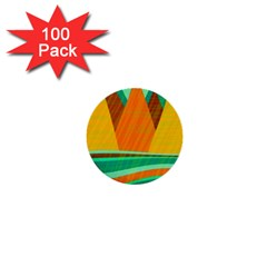 Orange and green landscape 1  Mini Buttons (100 pack)