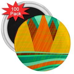 Orange and green landscape 3  Magnets (100 pack)