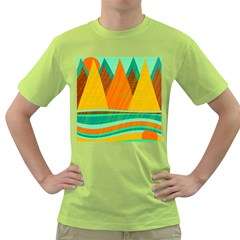 Orange and green landscape Green T-Shirt