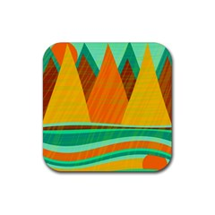 Orange and green landscape Rubber Square Coaster (4 pack)