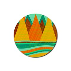 Orange and green landscape Rubber Round Coaster (4 pack)