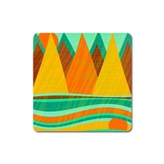Orange and green landscape Square Magnet