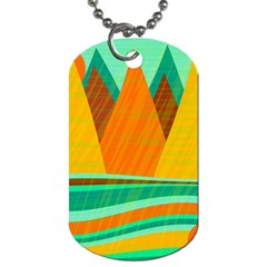 Orange and green landscape Dog Tag (Two Sides)