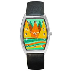 Orange and green landscape Barrel Style Metal Watch