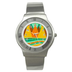 Orange and green landscape Stainless Steel Watch