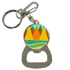 Orange and green landscape Bottle Opener Key Chains