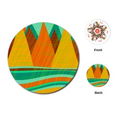 Orange and green landscape Playing Cards (Round)