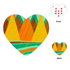 Orange and green landscape Playing Cards (Heart)