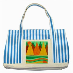 Orange and green landscape Striped Blue Tote Bag