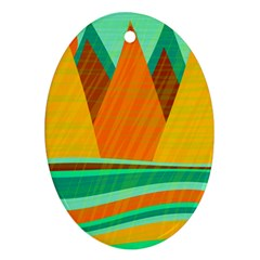 Orange and green landscape Oval Ornament (Two Sides)