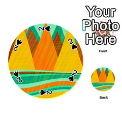 Orange and green landscape Playing Cards 54 (Round)