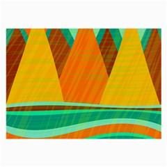 Orange and green landscape Large Glasses Cloth (2-Side)