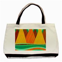 Orange and green landscape Basic Tote Bag (Two Sides)