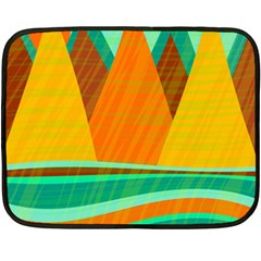 Orange and green landscape Double Sided Fleece Blanket (Mini)