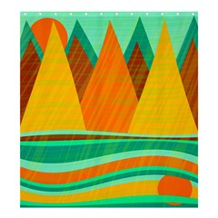 Orange and green landscape Shower Curtain 66  x 72  (Large)