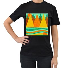 Orange and green landscape Women s T-Shirt (Black)