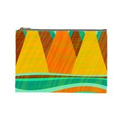 Orange and green landscape Cosmetic Bag (Large)