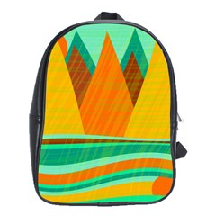 Orange and green landscape School Bags(Large)