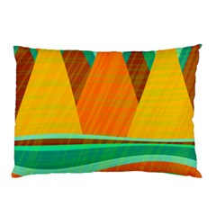Orange and green landscape Pillow Case (Two Sides)