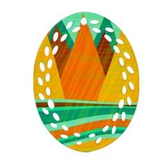 Orange and green landscape Oval Filigree Ornament (2-Side)