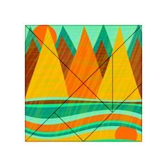Orange and green landscape Acrylic Tangram Puzzle (4  x 4 )