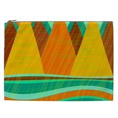 Orange and green landscape Cosmetic Bag (XXL)