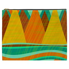 Orange and green landscape Cosmetic Bag (XXXL)