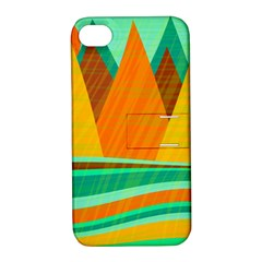 Orange and green landscape Apple iPhone 4/4S Hardshell Case with Stand