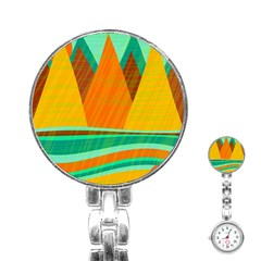 Orange and green landscape Stainless Steel Nurses Watch