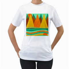 Orange and green landscape Women s T-Shirt (White)