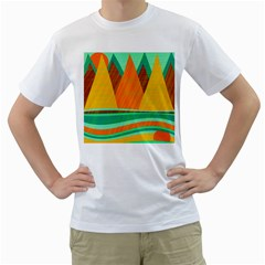 Orange and green landscape Men s T-Shirt (White)