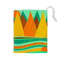 Orange and green landscape Drawstring Pouches (Large)