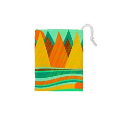 Orange and green landscape Drawstring Pouches (XS)